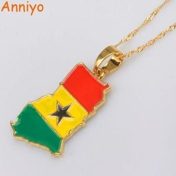 ac NOOW2 Anniyo Ghana Map/Flag Pendant Necklace Gold Color Jewelry Ghanaian Country Maps Patriotic National Day gift #072406