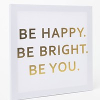 Ankit Be Happy Canvas Wall Art - Womens Scarves - Gold - NOSZ