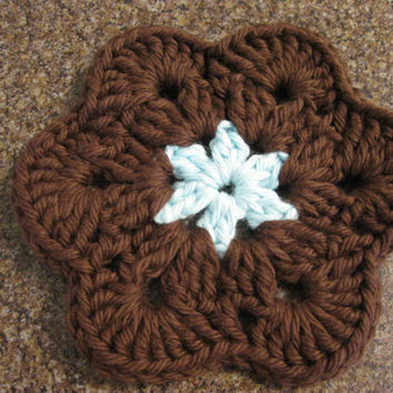 Crochet Coaster - African Flower Coasters - Set of Four Brown and Robin Egg Blue Coasters or Face Scrubbies