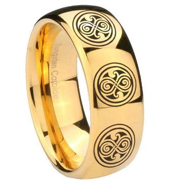 8MM Mirror Dome Multiple Doctor Who 14K Gold IP Tungsten Carbide Laser Engraved Ring