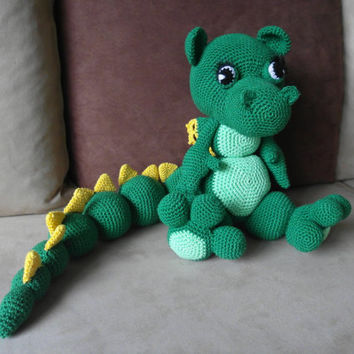 Crochet dragon-Crochet Dinosaur-Stuffed Dragon-Stuffed Dinosaur-Toy Dragon-Plush Dinosaur-Green Dragon-Drakosha-amigurumi dragon-dragon doll