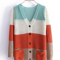 Green  Color Block Sweater with Double Pockets$41.00