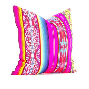Mexican cushion cover 18x18 Inches Mexican fiesta, Bohemian gypsy décor, Mexican throw pillows, Mexican embroidered, Pink Cushion, 18x18E1
