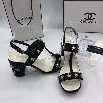 Chanel Fashion  high heels with ankle strap sandals for Women Silk fabric