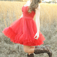 MINUET: Bottom Of My Heart Dress: Red