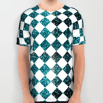Glittery Diamond Pattern| Teal All Over Print Shirt by Miss L In Art