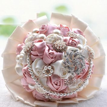 Gorgeous beaded crystal wedding bouquets Rose wedding flowers bridal bouquets