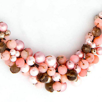Brown Pink Beaded Necklace, Multi Gemstone Necklace, Bridal Jewelry, Cluster Necklace  with opals pearls smokey quartz