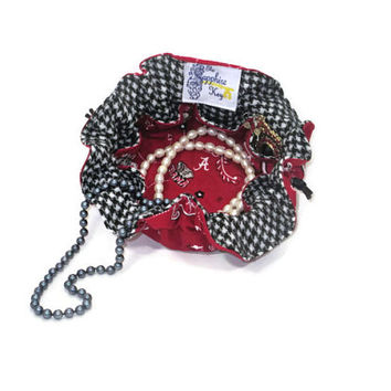 Drawstring Travel Jewelry Pouch / Satchel - Medium - Alabama with Houndstooth Lining