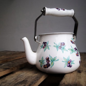 White Enamel Teapot: Vintage tea kettle, purple grapes, flower vase, cottage chic, shabby chic, country, retro kitchen decor