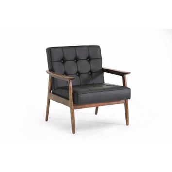 Stratham Black Mid-Century Modern Club Chair By Baxton Studio