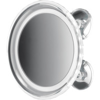 BS 18 8 in. Round Suction cup 5x Cosmetic Makeup Magnifying LED light Mirror, Chrome