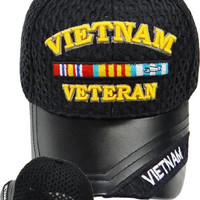 Vietnam Veteran Baseball Cap, Vietnam Vet Hat with Leather Bill and Pitted Mesh Fabric