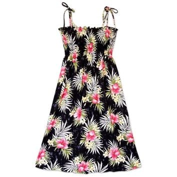 Hibiscus Isles Black Moonkiss Hawaiian Dress