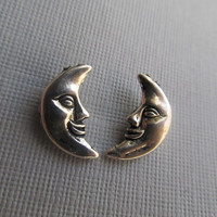 Silver Crescent Moon Face Stud Earrings