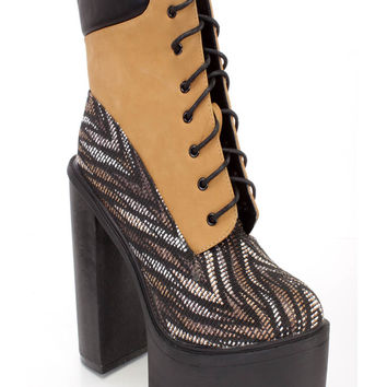 Multi Camel Lace Up Chunky High Heel Booties Nubuck