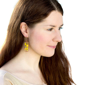 Yellow  copper dangle earrings. Wire wrapped OOAK