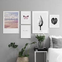 Lotus Black Leaf Red Butterfly Nordic Poster Wall Pictures For Living Room Cuadro Decoration Wall Art Canvas Painting Unframed