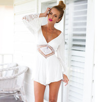 White Cut Out V Neck Long Sleeve Romper
