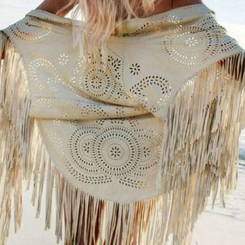 Loose Cut Out Beach Cardigan Dress with Tassel
