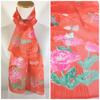 60's Vera Neumann Long Floral Silk Scarf Pink Tulips White Butterflies Peach Orange Ladybug signature Designer scarf Womens fashion Scarf