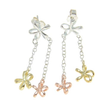 925 STERLING SILVER TRICOLOR HAWAIIAN OPEN PLUMERIA FLOWER DANGLE EARRINGS