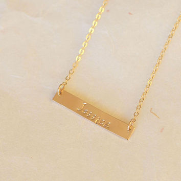 Gold Bar Necklace, Personalized Name Bar Necklace / 14k Gold Fill Bar Necklace,32*5.5mm Bar necklace