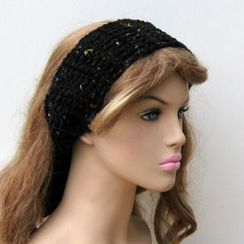 Black Fleck Dread head band dreadband wrap hippie headband scarf, woman head wrap, tie headband