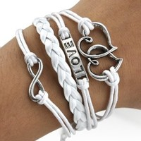 World Pride Heart to Heart Infinite Love Bracelet Multi Leather Strand Wrap (White)