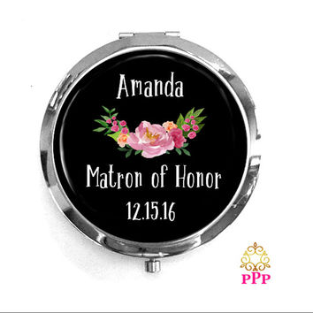 Matron of Honor Personalized Compact Mirror Keepsake Memento Gift Style 698