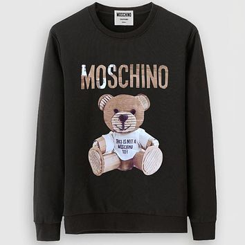 Moschino Casual Simple Women Men Long Sleeve Shirt Top Tee