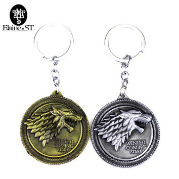 Game of thrones Stark family badge key chain Vintage Antique Silver&Bronze pendant Key chain Father's day gifts souvenirs