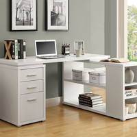 Monarch Hollow-Core Left or Right Facing Corner Desk - White Color - White