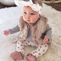 Retail 2016 Ins autumn and spring baby clothes baby girl  Golden love set 3pcs (Scarf + rompers+trousers) baby clothes