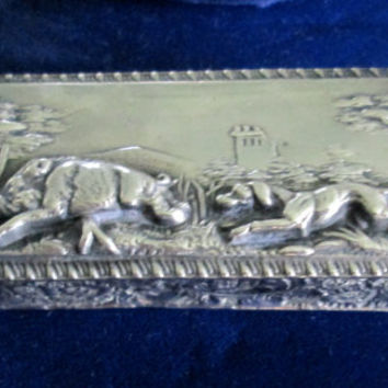Victorian Snuff Box Stamp Box / Boar And Dog Embossed / Silver Plated / Gorgeous