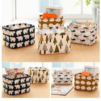 Cotton Linen Home Storage Box Clothes Organizer Folding Office Desk Organizer 5 Colors Makeup Organizer for Cosmetics