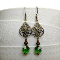 Green Clover Earrings - St Patrick's Day Earrings - Green Glass Cloves - Four Leaf Clover -