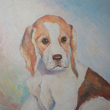 "Custom Pet Portrait Dog Puppy ""Puppy Tim"" Original Impasto Oil Painting Animal Contemporary Art Work Child Room Wall Decor Made to Order"