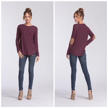 Tunic Sweater with Elbow Patches in Plum