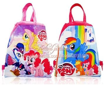Cute 12pcs My Little Ponys Drawstring Backpack Hot Cartoon Bags,Multipurpose bags 34*27cm Kids School Party Bags,Kid Sweet Gifts