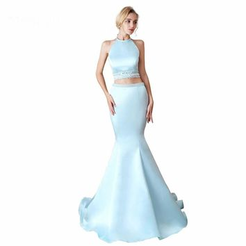 Formal Evening Dresses for Women Elegant Halter Neck Two Piece Mermaid Floor-Length Long Prom Party Gowns