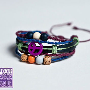 Handmade Retro Bracelet - Hemp and leather cord peace sign bead bracelet