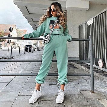 Autumn Women Solid Color Candy Colors High Waist Sweatpants Leisure Pants Trousers