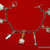 Mary Poppins Practically Perfect Charm Bracelet, 7 Charms, Disney Inspired, by Life is the bubbles