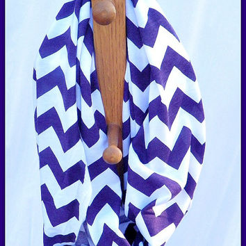 Purple and White Super Soft Jersey Knit Chevron Zig Zag infinity scarf -- Modern loop circle cowl