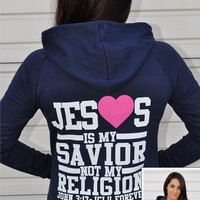 JCLU Forever Christian t-shirts — ZIPHOODIE-JESUS IS MY SAVIOR-NAVY