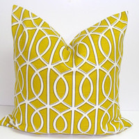 Pillow.Gold Crate and Barrel Fabric.18x18 inch.Decorator Pillow Cover.Printed Fabric Front and Back.Gatework Pillow