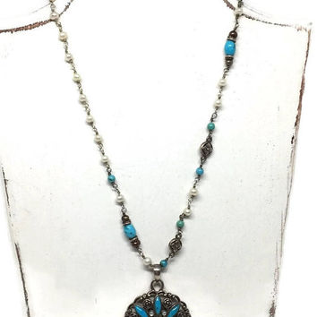Barse Turquoise, Moonstone and Pearl Necklace, Barse Pendant Necklace, Turquoise Beaded Necklace, Southwestern Jewelry, Cowgirl Necklace
