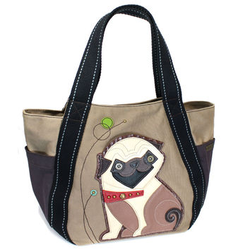 Chala Sturdy Canvas Carryall Tote Bag with Leather Playful Animal Print (833-Pug Dog)