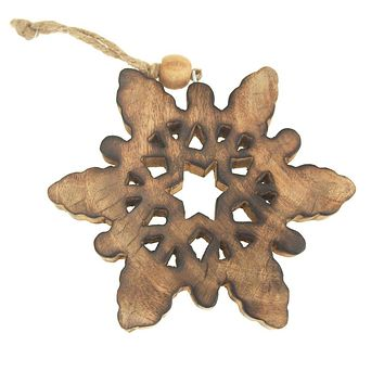 Hanging Wood Celestial Snowflake Christmas Tree Ornament, Natural, 5-Inch